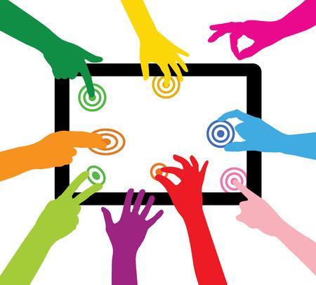 equipo toca el Tablet PC