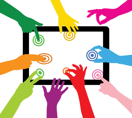team touches the tablet PC Vector