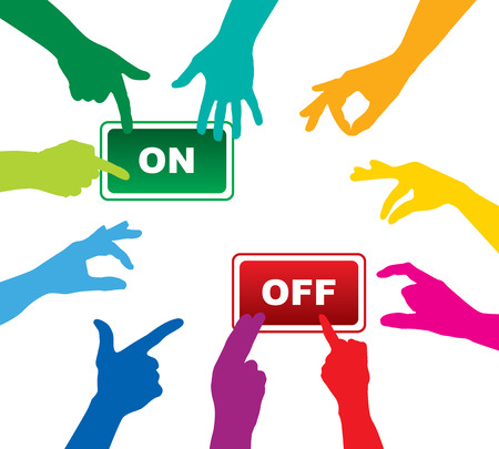 team hands on-off button Vector