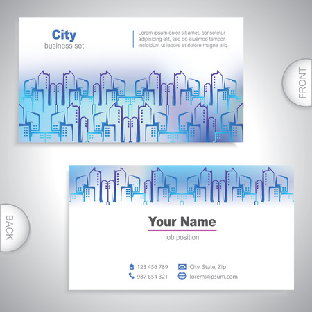 Universal city buildings business card. Vector
