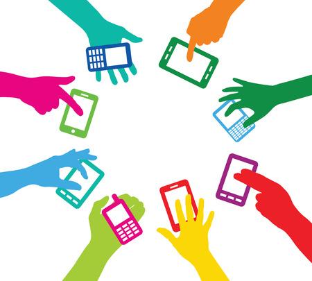 Team with smart phones Vector