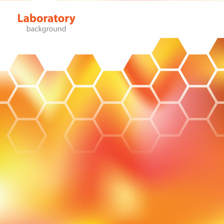 Abstract orange-red medical laboratory background. Vector