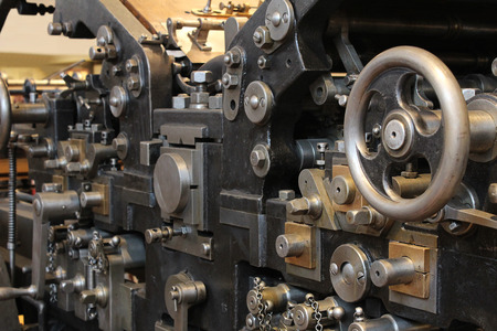 Old printing press, sheet-fed printing Stock Photo