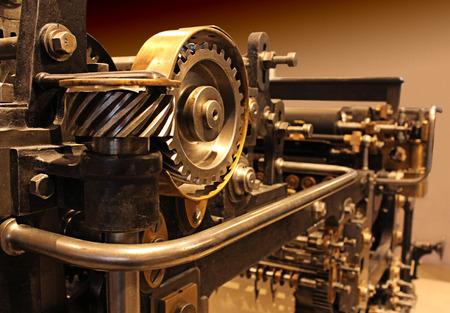 Impresión vieja prensa, engranajes mecánicos Foto de archivo