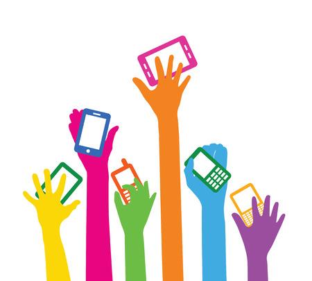 Team with smart phones