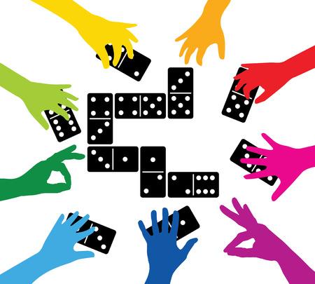 equipo que juega con fichas de dominó
