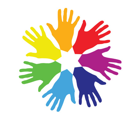helplessness: colored hands in a circle Illustration