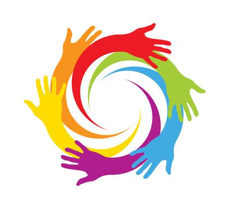 manos colores en un círculo Vectores