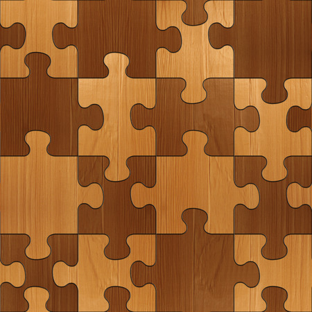 Wooden puzzles assembled for seamless background.  veneer alder photo