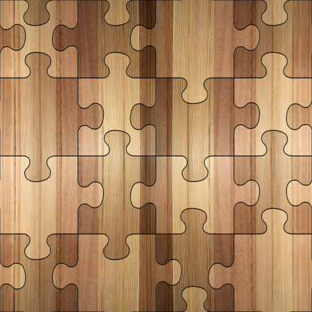 Wooden puzzles assembled for seamless background. photo