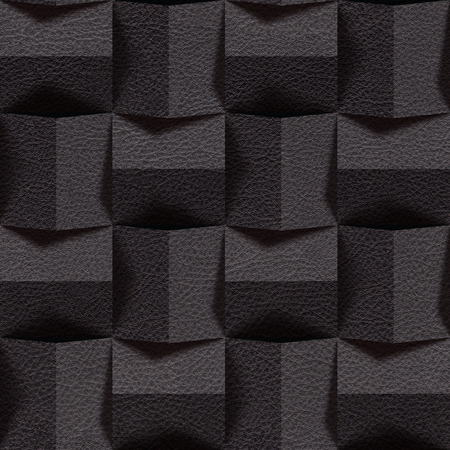 black leather: Leather blocks stacked for seamless background, surface black leather Stock Photo