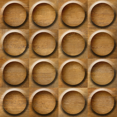 Wooden rounded abstract blocks stacked for seamless background, walnut veneer photo