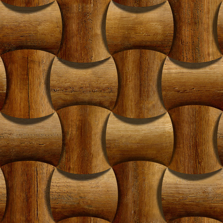 Wooden rounded blocks stacked for seamless background, rosewood veneer photo