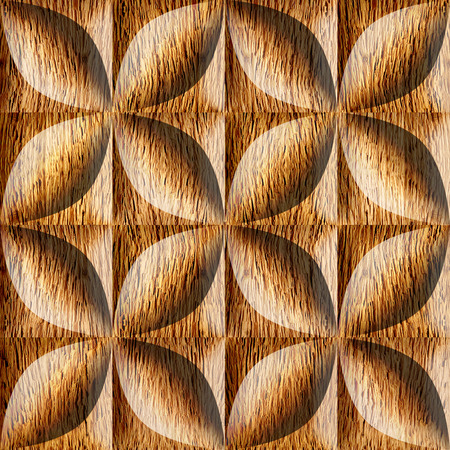 grained: Abstract decorative tiles stacked for seamless background, wooden surface Stock Photo