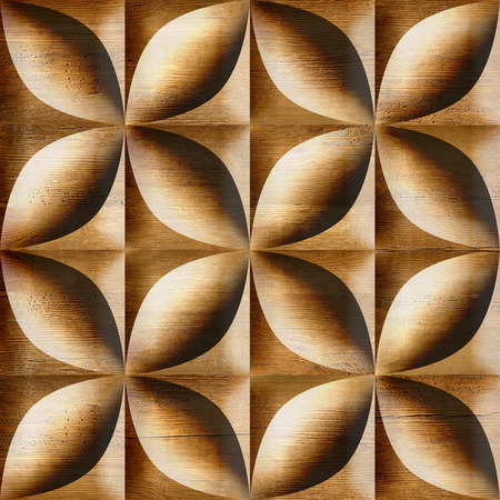 Abstract decorative tiles stacked for seamless background, wooden surface photo