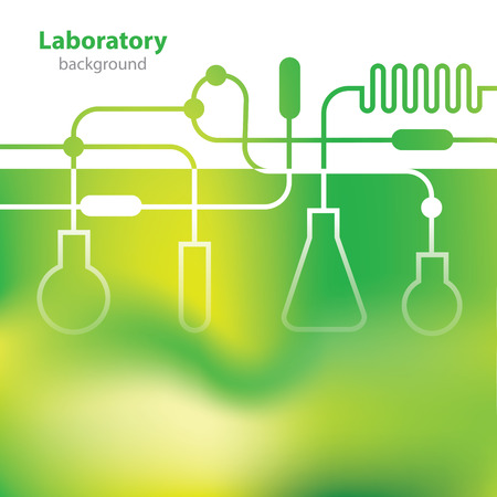 Science and Research - laboratory facilities - green background Illustration