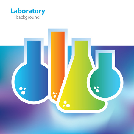 deoxyribose: Science and research - colorful laboratory flasks - abstract background Illustration