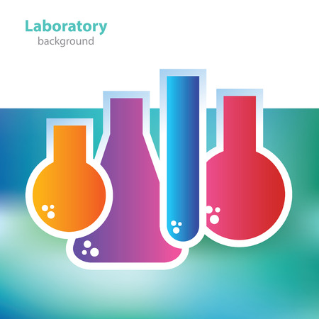 deoxyribonucleic: Science and research - colorful laboratory flasks - abstract background Illustration