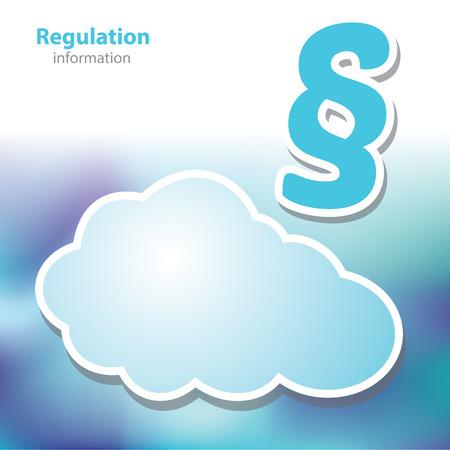 акцент: Информационные стенды - регулирование - Указ - символ облако - пустой фон Иллюстрация