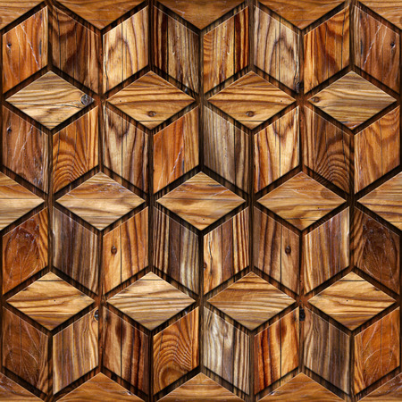 wood paneling: Abstract checkered pattern - seamless background - wood paneling Stock Photo