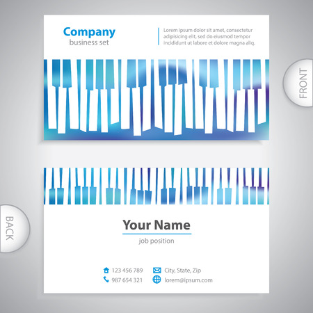 keyboard player: business card - abstract musical piano keys - company presentations Illustration