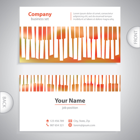 business card - abstract musical piano keys - company presentations Illustration