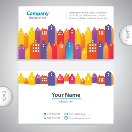 properties: business card - Abstract city buildings - company presentations Illustration
