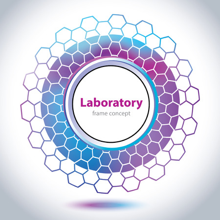 Abstract medical laboratory emblem - circle element - violet and blue background Vector
