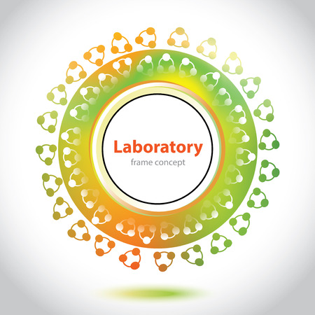 designation: Abstract medical laboratory emblem - circle element - orange and green background