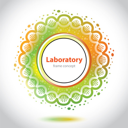 Abstract medical laboratory emblem - circle element - orange and green background Vector