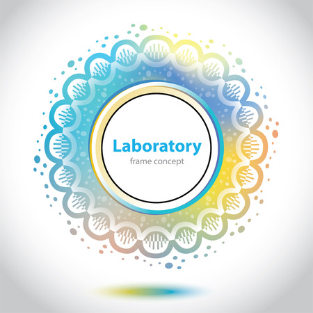 designation: Abstract medical laboratory emblem - circle element - yellow and blue background