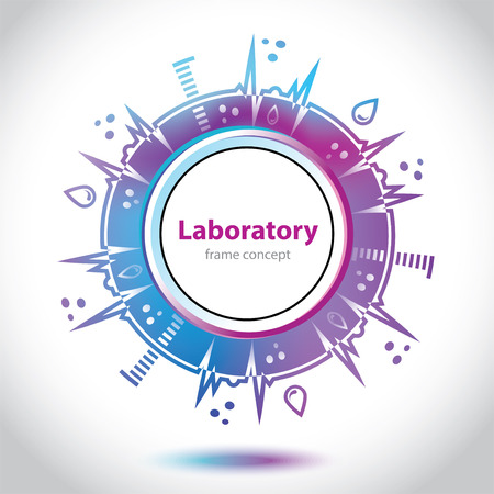 designation: Abstract medical laboratory emblem - circle element - violet and blue background Illustration