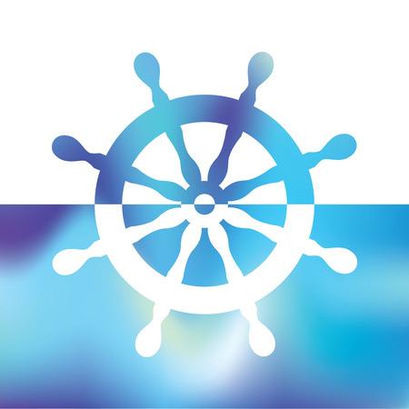 steering wheel rudder - ship steering Illusztráció