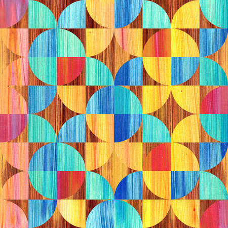 bstract: bstract paneling pattern - rainbow colors - wooden background Stock Photo