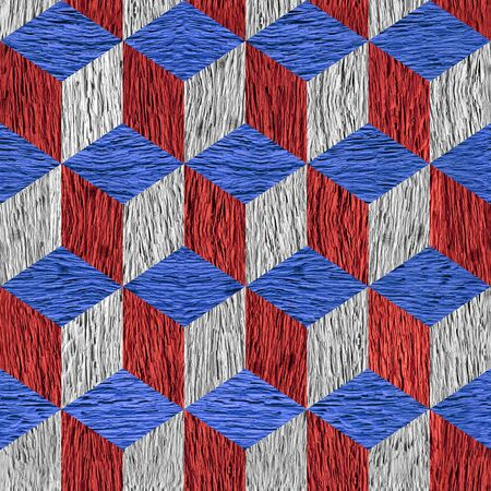 Wooden checkered pattern - seamless background - red-blue national colors - rough wooden surface Stock Photo