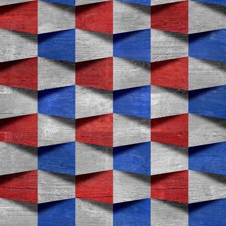 national colors: Abstract paneling pattern - seamless pattern - red-blue national colors - wood texture