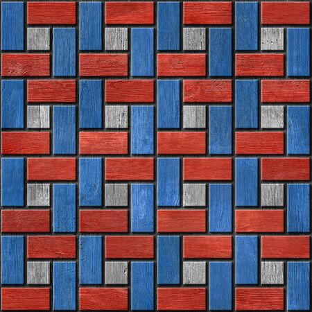 paneling: Abstract paneling pattern - seamless pattern - red-blue color - wood texture Stock Photo