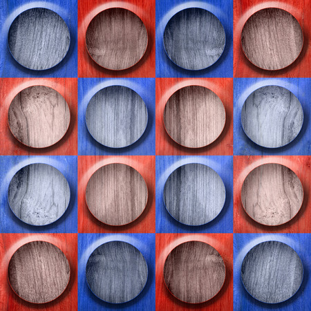 wood surface: Abstract button pattern - seamless pattern - red-blue color - wood surface Stock Photo