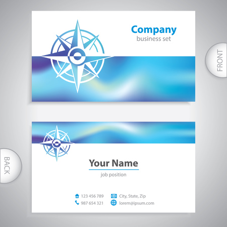 geocaching: business card - Wind rose symbol - marine Equipment - company presentations
