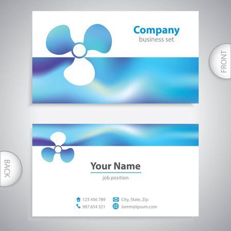 shipyard: business card - Boat propeller - maritime symbols - company presentations