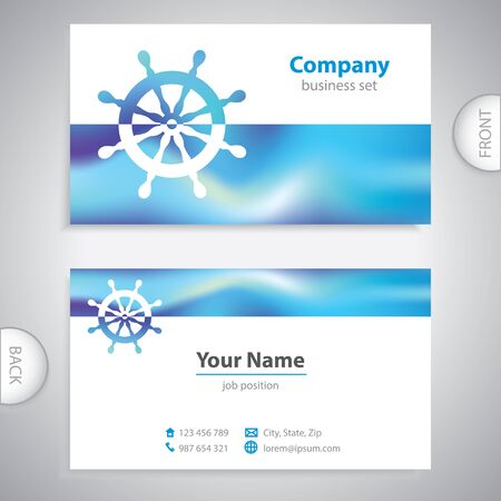 business card - steering wheel rudder - ship steering - company presentations Illustration