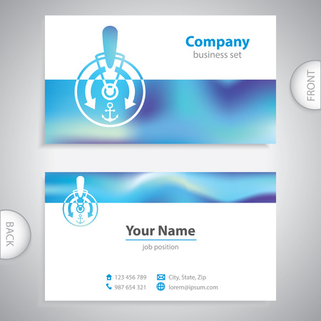 telegraph: business card - ships telegraph - captain - symbol sea - company presentations
