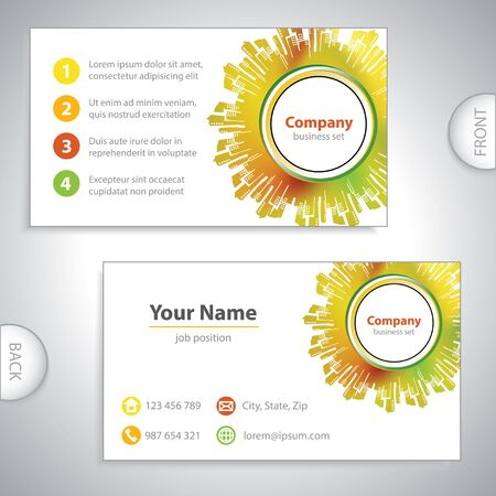 business card - Abstract architectural building - cities on background