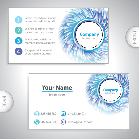 oscillations: business card - science and research - windmill - blue version