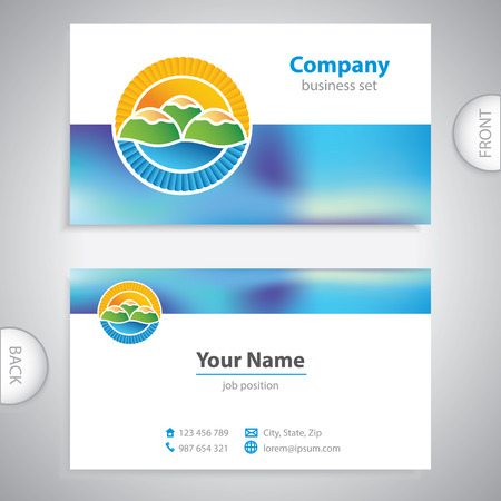 picturesque: business card - symbols of nature - picturesque hills Illustration
