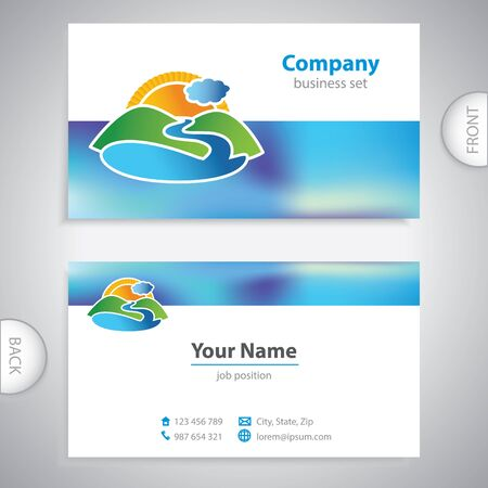 mediterranean homes: business card - symbols of nature - hills and lakes Illustration