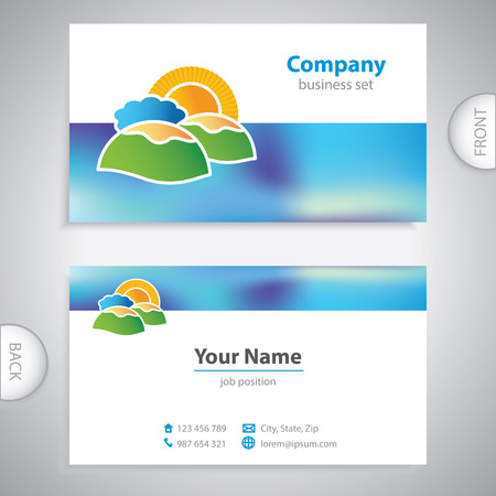 mediterranean homes: business card - symbols of nature - islands and hills
