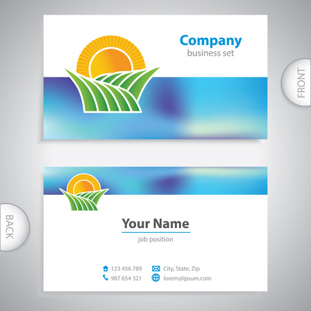 mediterranean homes: business card - symbols of nature - fields and meadows Illustration