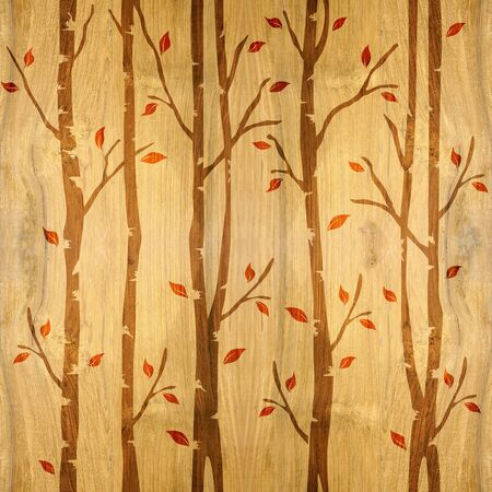Abstract decorative trees - seamless background - wood texture