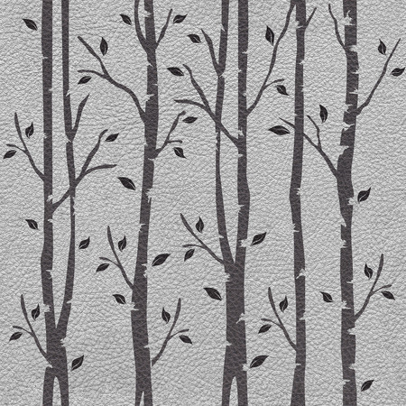 leather texture: Decorative trees on seamless background - leather texture Stock Photo